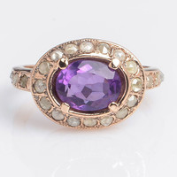 Ring with Amethyst and Diamonds - Oval Ring set with Amethyst - Gemstone Jewelry - Gift for Her - Artisan Jewelry - Handmade Gold Ring