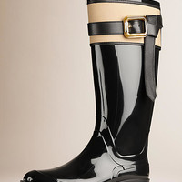 Belted Equestrian Rain Boots Black/honey