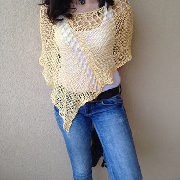 Spring summer pure cotton poncho, loose knit yellow poncho, cotton wrap, summer nights poncho, hand knit cape, trendy top, formal women wear