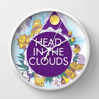 Head In The Clouds Wall Clock by chobopop