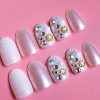 24pc Pink Rivet Rhinestones Pearl Glitter Fake Nails Tips Full Cover False Nails with Design and Glue Stickers Press on Nails