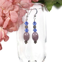 Blue Swarovski Bicones Melon Shaped Lepidolite and Sterling Silver Earrings