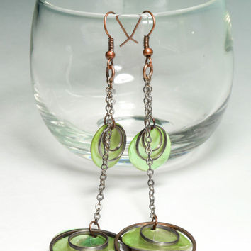 Earrings, Copper Earwires, Green Dangle Earrings, Disc Earrings, Copper Earrings, Marbled, Copper Hoops, Green Earrings, Green Marble