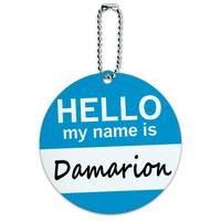 Damarion Hello My Name Is Round ID Card Luggage Tag