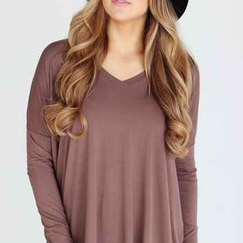 Piko 1988 Cocoa Brown Long Dolman Sleeve V Neck Piko Bamboo Basic Loose Tunic Tee Top