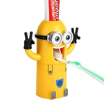 Free Shipping Minion toothpaste dispenser bathroom accessories automatic toothpaste dispenser Kids Plastic Bathroom Set with Cup