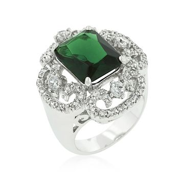 Coco Vintage Emerald Green Cocktail Statement Ring