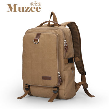 2017 Muzee Free shipping High quality canvas men's backpack men's travel bags vintage rucksack school bags laptop knapsack,muzee