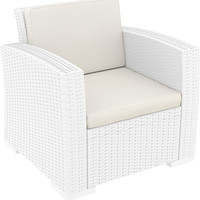 Monaco Resin Patio Club Chair White with Cushion