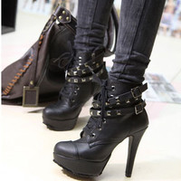 Studed Platform Buckles High Heels Lace-ups Ladies Ankle Boots New Gothic