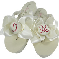 Wedding Flip Flops that Say I DO in Fuchsia Pink Glitter and Satin Bows