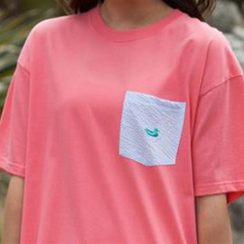 Southern Marsh Stewart Pocket Tee with Seersucker Pocket in Coral