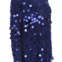 ROMWE | Faux Mohair Dark-blue Jumper with Sequins, The Latest Street Fashion