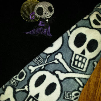 Baby CUSTOM Nightmare  Before Skellington BABY BLANKeT SKULL Fleece Back EMBROiDERED +PERSONALiZE & PiLLOWs avail Designs by Sugarbear