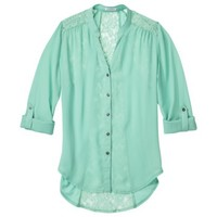 Xhilaration® Junior's Lace Detail Button Down Shirt - Assorted Colors