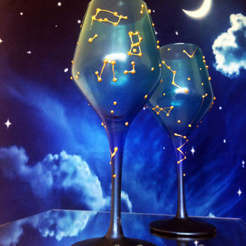 Constellations Set of 2 hand painted toasting wine glasses Night sky personalized glasses in blue and gold color