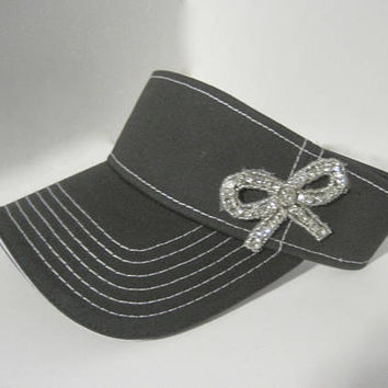 Adorable Grey White Stitched Golf Sun Visor with Rhinestone Bow Appliqué