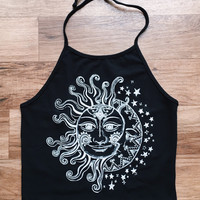 Sun and Moon Halter Crop Top