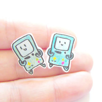 Bimo from Adventure Time Shrink Plastic Tiny Cute Earrings