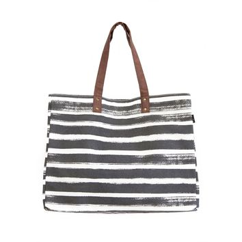 NEW! Carryall Tote Plus - Stripes Charcoal