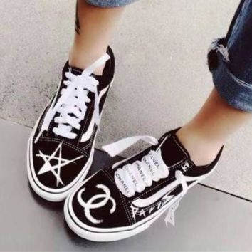 """""""CHANEL"""" Fashion Canvas Flats Sneakers Sport Shoes Star Black"""