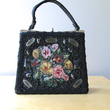 beaded handbag caron of houston black purse soutache trim