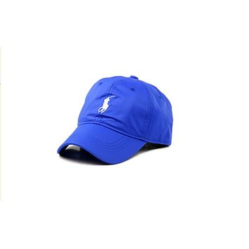 POLO baseball cap male models outdoor simple shade golf hat big embroidery hat Sapphire blue
