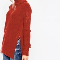 ASOS Sweater in Brushed Yarn With High Neck and Side Splits