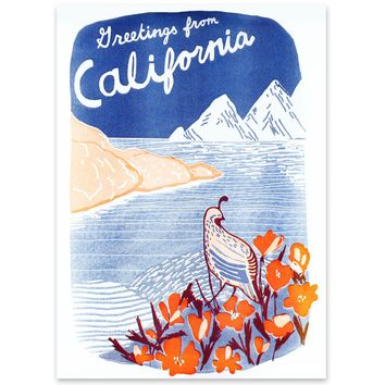 Greetings From California Quail Landscape Risograph Print