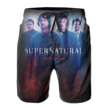 Supernatural Awesome Cool Poster Mens Fashion Casual Beach Shorts
