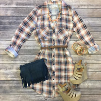 You Plaid me at Hello Belted Tunic: Peach