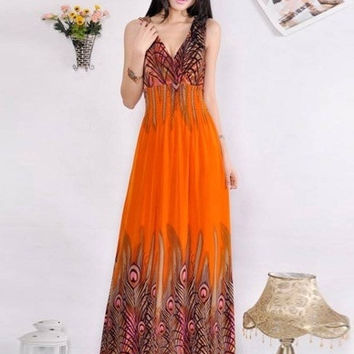 Bohemian Phoenix Printed Dress with Double V-Neck For Women = 1928353220