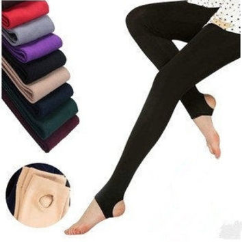 Fashion 8Colors Brushed Stretch Fleece Lined Thick Tights Warm Winter Pants Warm Leggings Black = 1946814020