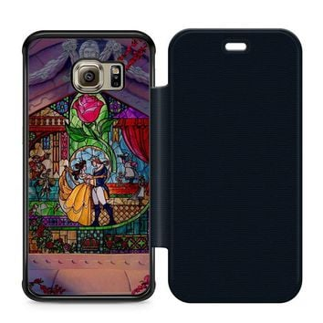 Beauty and The Beast Art Leather Wallet Flip Case Samsung Galaxy S6 Edge