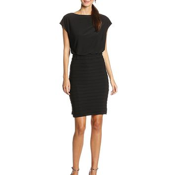 Adrianna Papell - 13216810 Pleated Bateau Neck Sheath Dress