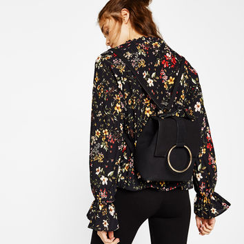 Mini backpack with ring - Bags - Bershka United States