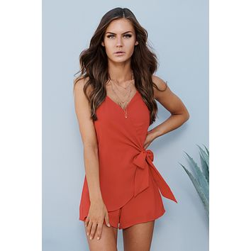 Let's Go Out Romper (Red)
