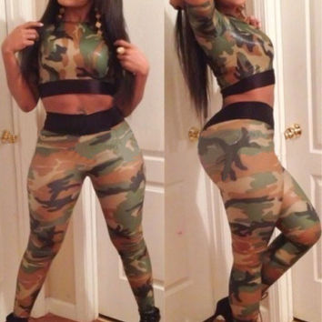 Camouflage Short Sleeve Cropped Top and High Waisted Pants Set