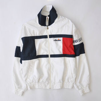 RARE Vintage Ellesse Prendi La Tua Forza Wind Up Tennis Jacket Multi Colour