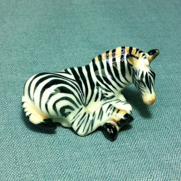 Miniature Ceramic Zebra Laying Horse Animal Cute Little Tiny Small Black White Figurine Statue Decoration Hand Painted Collectible Figure
