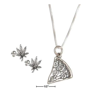 "STERLING SILVER 18"" SLICE OF PIZZA PENDANT NECKLACE WITH POT LEAF EARRINGS SET"