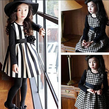 New Girls Striped Dresses Spring & Autumn Elegant Princess Children Long Sleeve Plaid Dress Kids Casual Dress = 1958203780