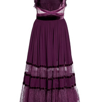 Crepe And Velvet Midi Dress | Moda Operandi