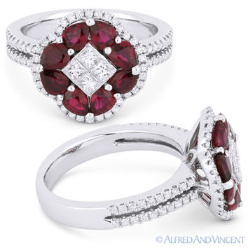 2.18 ct Pear-Shape Red Ruby & Diamond Pave 18k White Gold Right-Hand Flower Ring
