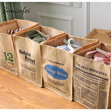Simanfei Laundry Basket 2017 New Design Natural Jute Retro Style Dirty Clothes Basket Cotton Linen Folding Sundries Storage Box