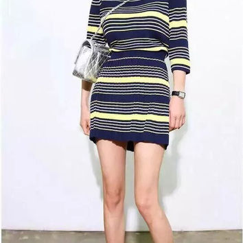 Stripe Sleeve Shirt With Paired Pleated Skirt