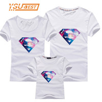 2017 New Family Look Superman T Shirts 13 Colors Summer Family Matching Clothes Mom & Dad & Son & Daughter Cartoon Outfits