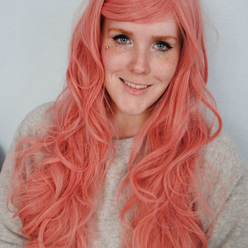 SALE Pink Wig, Pastel Wig, Pastel Pink Wig, Curly Wavy Long Hair, Cosplay wig, Scene wig, Valentine's Day, for Women and Teens // First Kiss