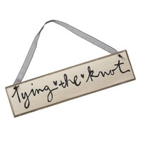Tying the Knot Decorative Hanging Signs - Black Script on Ivory with Black Ribbon - 12-in