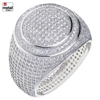 Jewelry Kay style Men's Hip Hop 14k Gold Plated All Around CZ Band Double Round Style Pinky Rings